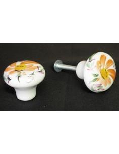 Bouton de tiroir meuble décor Fleur orange (diamètre 30 mm)