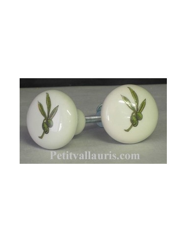 Bouton de tiroir meuble décor Olives (diamètre 30 mm)