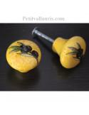 Bouton de tiroir meuble décor Provençal sur fond jaune (diamètre 30 mm)