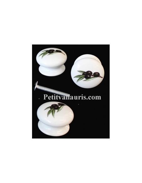Bouton de tiroir meuble décor Olives noires (diamètre 35 mm)