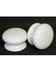 Bouton de tiroir meuble coloris blanc uni (diamètre 35 mm)