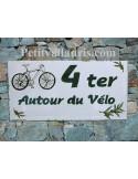 Plaque de maison faience émaillée décor byciclette et brins d'olive inscription personnalisée verte