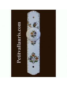 Plaque de propreté en porcelaine sans serrure avec poignée ronde reproduction motif vieux Moustiers
