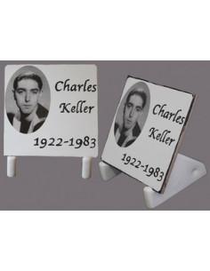 Plaque funéraire à poser inscription personnalisée noir et blanc