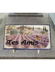 Plaque funéraire en céramique décor Paysage Provençal