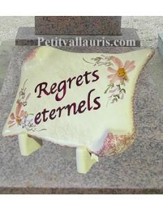 Plaque funéraire en céramique décor Fleurs roses fond rose pâle