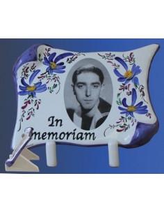 Plaque funéraire en céramique modèle parchemin avec photo noir et blanc