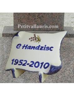 Plaque funéraire en céramique modèle parchemin décor Lavandes