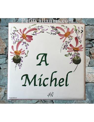 plaque fun raire en c ramique d cor fleurs rose texte vert le petit vallauris. Black Bedroom Furniture Sets. Home Design Ideas