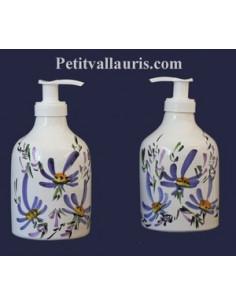 Distributeur de savon liquide décor Fleur bleue