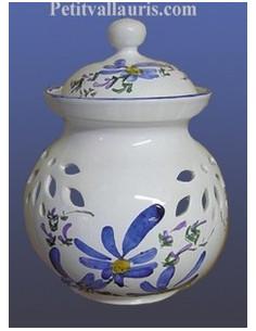 Pot à oignons en faïence décor fleur bleue