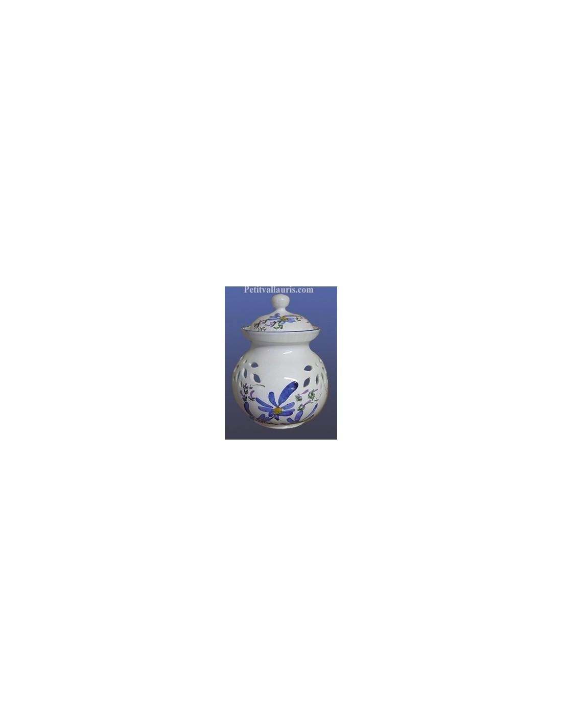 pot conservateur oignons en fa ence pour la cuisine d cor artisanal fleurs bleues le petit. Black Bedroom Furniture Sets. Home Design Ideas