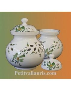 Pot à oignons en faïence décor fleur vert