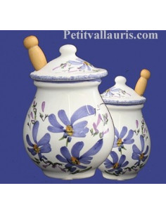 Pot à moutarde jarre en faïence décor fleur bleue
