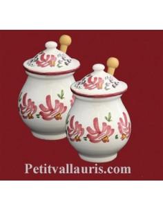 Pot à moutarde jarre en faïence décor fleur rose