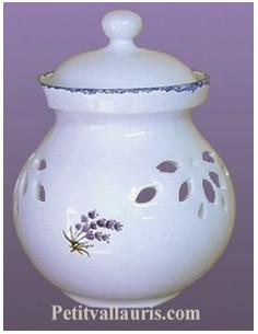 Pot à oignon en faïence décor Brin de Lavande