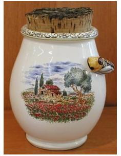 Pot à herbes de provence décor Paysage de Provence et Cigale en relief