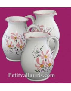 Pichet à eau 1 Litre décor fleuri rose