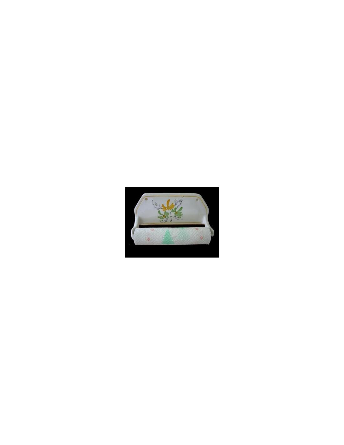 d rouleur de papier essuie tout mural d cor fleurs vertes et jaunes le petit vallauris. Black Bedroom Furniture Sets. Home Design Ideas