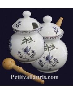 Pot à olives décor Tradition Vieux Moustiers bleu avec louche