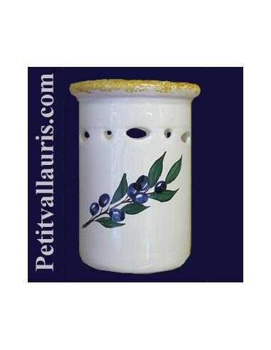 Porte ustensile de cuisine ajour d cor olive bleue le for Porte ustensile cuisine