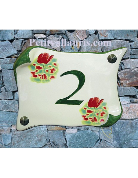 Plaque de Maison en faience modèle parchemin motif coquelicots inscription personnalisée verte