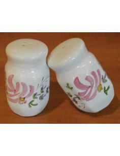 Salière et poivrière décor Fleuri rose