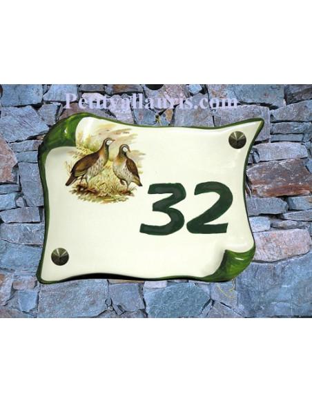 Plaque de Maison en faience modèle parchemin motif les perdrix inscription personnalisée verte