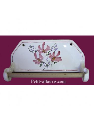 d rouleur de papier essuie tout mutal pour cuisine en fa ence d cor fleurs roses. Black Bedroom Furniture Sets. Home Design Ideas