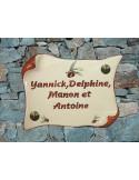Plaque de Maison parchemin décor olives rouges inscription personnalisée rouge foncé