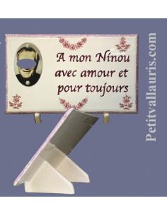 Plaque funéraire en céramique modèle rectangulaire motifs fleurs roses + personnalisation et cadre photo ovale