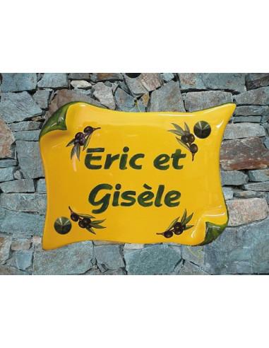 Plaque de Maison parchemin decor olives noires couleur provençale inscription personnalisée verte