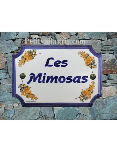 Plaque de Maison en faience décor brins de mimosas inscription personnalisée