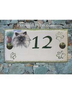 Plaque rectangulaire de maison en céramique émaillée motif chat persan + empreintes pattes + inscription personnalisée