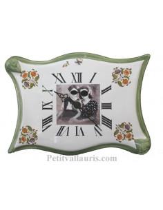 Horloge parchemin grand modèle bord vert avec photo personnalisée