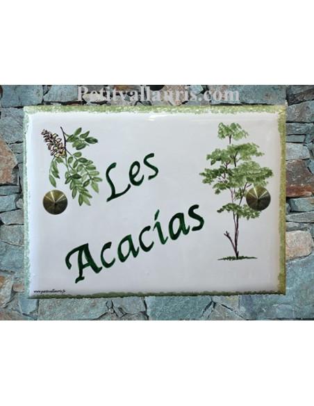 Plaque de maison en faïence émaillée motif artisanal les Acacias + inscription personnalisée