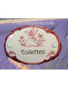 Plaque ovale Toilettes décor tradition vieux moustiers rose
