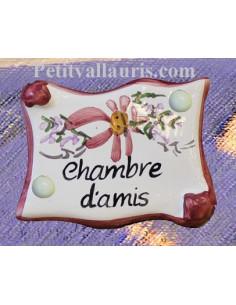 """Plaque de porte parchemin rose """"Chambre d'amis"""""""