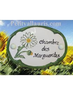 Plaque de porte décor Chambre des marguerites