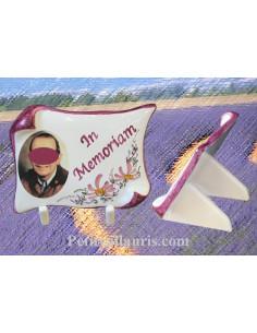 Plaque funéraire parchemin décor fleuri rose et texte personnalisé photo couleur