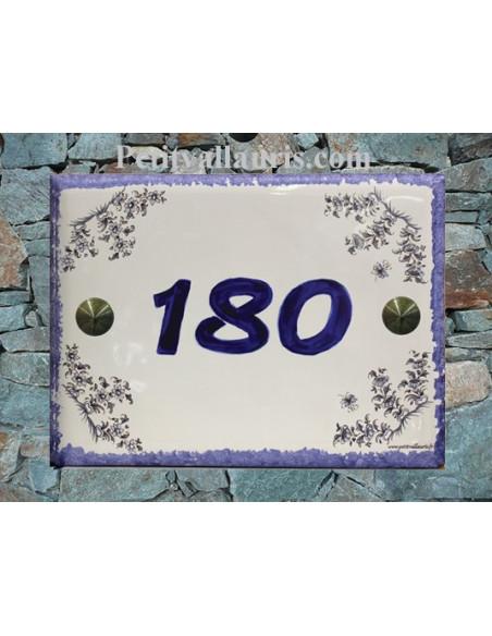 Plaque de maison en faience émaillée décor Fleurs de Tradition bleu + inscription personnalisée