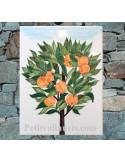 Plaque de maison céramique personnalisée décor Oranger pose verticale