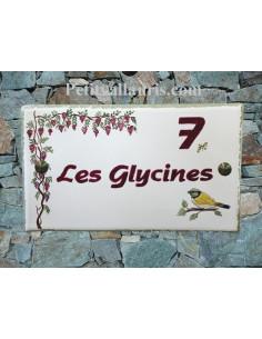 Plaque de Maison rectangle décor personnalisé Oiseau et Glycines