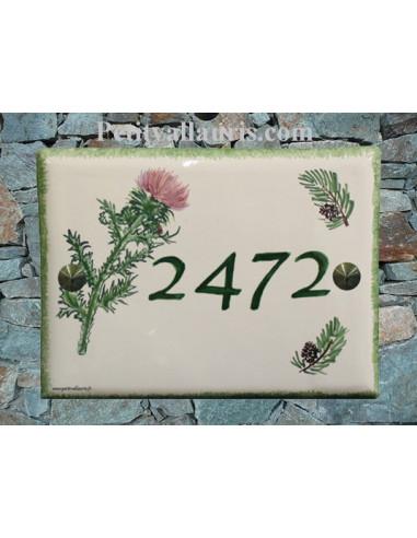 Plaque de maison en faïence décor Chardon et Pomme de pin bord et texte vert