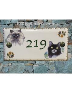 Plaque rectangle de maison en céramique Chat n°3 et chat n°4 bord frise