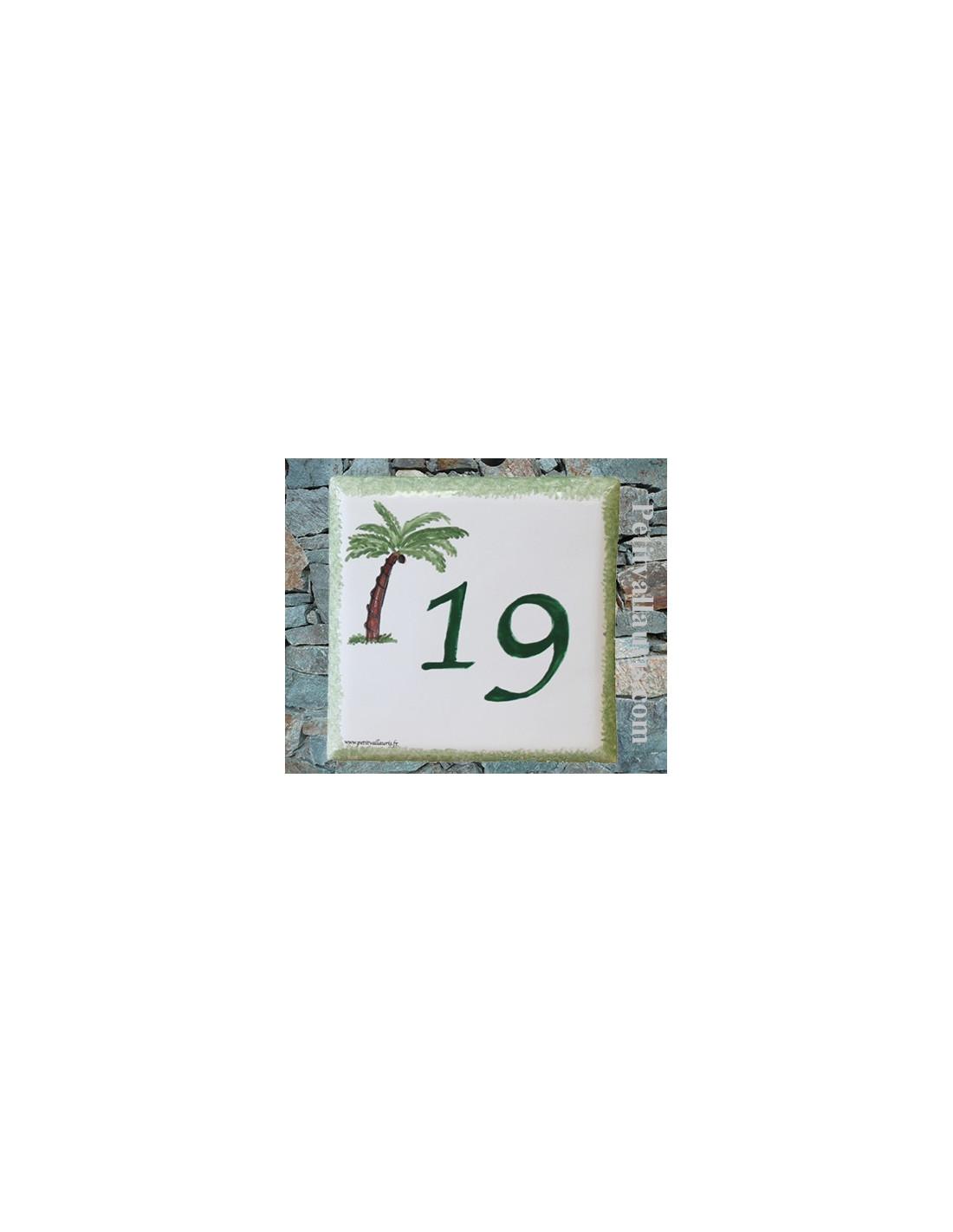 Num ro de maison en fa ence avec gravure chiffre for Numero de porte en faience