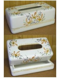 Boîte à mouchoirs papier décor Fleuri saumon