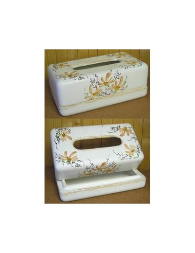 boite mouchoir papier jetables en c ramique blanche et motits fleurs beiges saumon. Black Bedroom Furniture Sets. Home Design Ideas