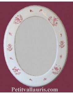 Miroir ovale décor Tradition Vieux Moustiers rose