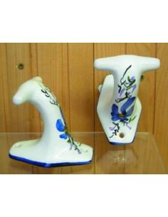 Patère / Porte manteau classique décor Fleuri bleu (l'unité)